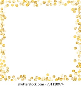 Frame with Gold Confetti Isolated on White Background. Festive Pattern with Glitter for Christmas and New Year Decoration, Birthday Invitation, Poster or Greeting Card. Vector Gold Confetti.