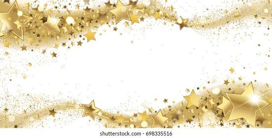 frame of golden sparkling stars on a white background