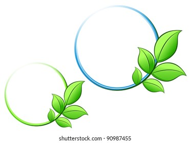 Frame with green leaves for ecology or environment design