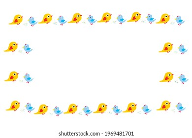 frame for greeting or invitation cards for children. Cute birds on the outline of the frame, Inside the frame is a place for the manuscript. Vector illustration.