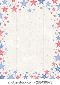 Frame of grunge usa background with red and blue stars, vector illustration