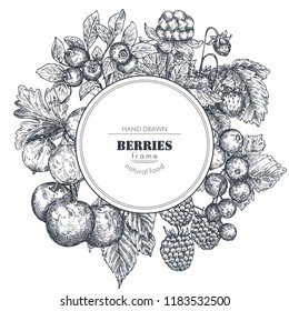 Frame with hand drawn vector berries in sketch style. Round border composition. Strawberry, cherry, raspberry, gooseberry, blackberry, cloudberry, cranberry blueberry