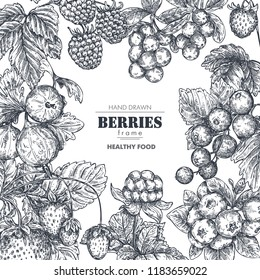 Frame with hand drawn vector berries in sketch style. Square border composition. Strawberry, cherry, raspberry, gooseberry, blackberry, cloudberry, cranberry blueberry