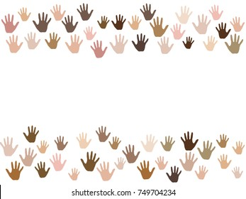 Frame of hands with skin color diversity vector background. Cohesion concept icons, social, national, racial issues symbols. Hand prints, human palms - friendship, help, support, teamwork concept.