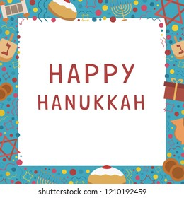 "Frame with Hanukkah holiday flat design icons with text in english ""Happy Hanukkah"". Template with space for text, isolated on background."