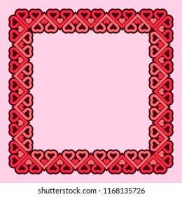 Frame Of Hearts Flat Vector Template