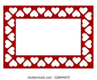 Frame of hearts isolated of a white background. Vector illustration.