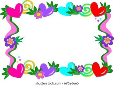 Frame of Hearts, Spirals, and Flowers
