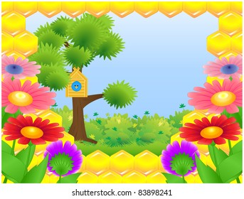 The frame of honeycomb, tree standing on meadow with birdhouse and blue bird