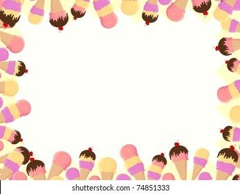 frame with ice cream in vector format very easy to edit, individual objects
