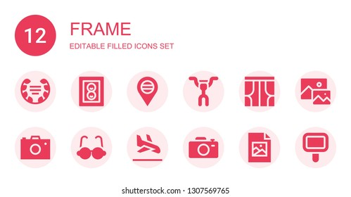 frame icon set. Collection of 12 filled frame icons included Laurel, Photo, Placeholder, Handlebar, Curtains, Photo camera, Glasses, Landing page, Camera, Jpeg, Image, Mirror