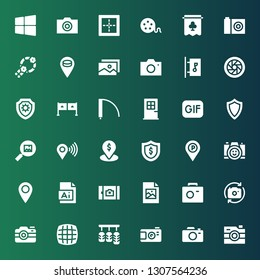 frame icon set. Collection of 36 filled frame icons included Camera, Pedals, Grid, Photo camera, Jpeg, Picture, Illustration, Placeholder, Shield, Gif, Door, Entrance, Shutter