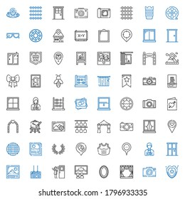 frame icons set. Collection of frame with shield, photo camera, stage, mirror, canvas, door, board, photo, photographer, placeholder, armor. Editable and scalable frame icons.