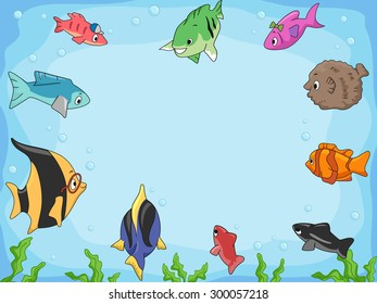 Frame Illustration of Different Species of Fish Swimming Around