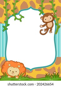 Frame Illustration Featuring a Cute Lion and a Monkey