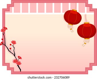 Frame Illustration Featuring Japanese Lanterns and Cherry Blossoms