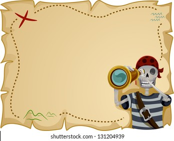 Frame Illustration Featuring a Pirate Standing in Front of a Treasure Map