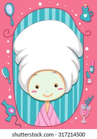Frame Illustration of a Little Girl Wearing a Bathrobe and a Towel Over Her Head