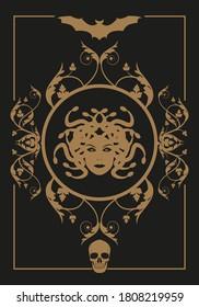 Frame illustration ornamental background with terrifying symbols. Medusa, skulls and vampire bat. Mythology. Halloween party concept