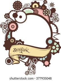 Frame Illustration of a Ribbon with the Word Steampunk Written Over It