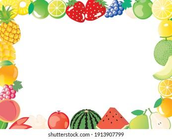 Frame illustration of various fruit