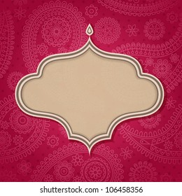 Frame in the Indian style in the background with paisley pattern. Vector illustration. Eps10.