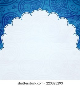Frame in the Indian style on the background with paisley pattern. Vector illustration. Eps10.