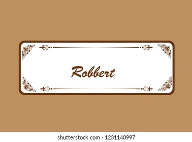 frame label design for wedding invitation letter cocolate. vektor