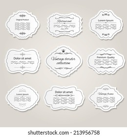 Frame and label set with calligraphic design elements.