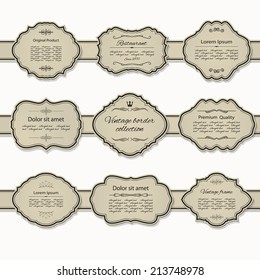 Frame and label set on ribbon. Calligraphic design elements.