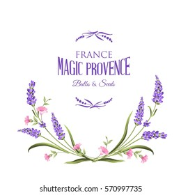 Frame of lavender flowers on a white background. Label of soap package. Label with lavender flowers. Vector illustration.