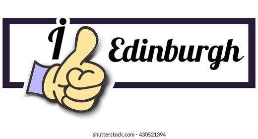 "Frame "" I Like Edinburgh "" Thumb Up! Vector graphic logo eps10."