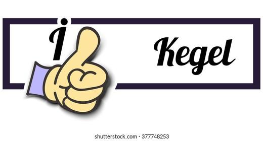 """Frame """" I Like Kegel """" Thumb Up! Vector graphic logo eps10."""