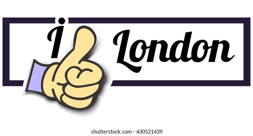 "Frame "" I Like London "" Thumb Up! Vector graphic logo eps10."