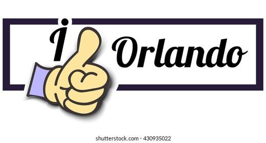 "Frame "" I Like Orlando "" Thumb Up! Vector graphic logo eps10."