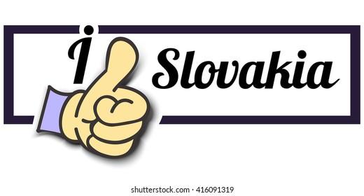"Frame "" I Like Slovakia "" Thumb Up! Vector graphic logo eps10."
