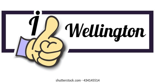 "Frame "" I Like Wellington "" Thumb Up! Vector graphic logo eps10."