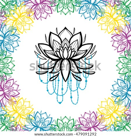 Frame lotus flowers traditional indian symbols stock vector royalty frame of lotus flowers traditional indian symbols in paisley and mehendi graphic line decorative style mightylinksfo