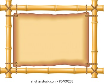 frame made of bamboo and old parchment vector illustration