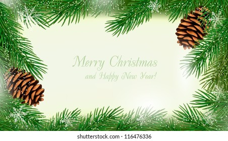 Frame made of christmas tree branches with pine cones. Vector.