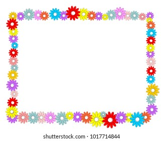 frame made of colorful flowers