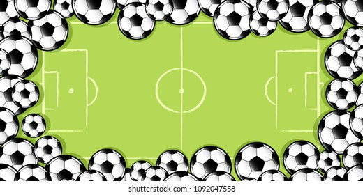 frame made up of football soccer balls against a football soccer pitch