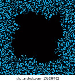 Frame made with musical notes, vector background.