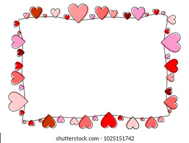 Frame made of red and pink hearts