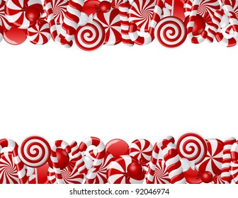 Frame made of red and white candies. Seamless pattern
