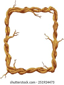 Frame made of tree trunk and branches