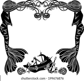 Frame, mermaids weep shipwreck, stencil for sticker