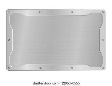 frame of metal on aluminium plate or steel background, metallic border vector illustration