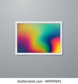 Frame mock-up with artistic iridescent poster design. Vector illustration of paper frame with textured paper. Vector mock up. Creative abstract iridescent spectrum poster design