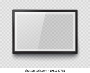 Frame mockup template isolated on transparent wall background. Realistic blank horizontal picture or photograph frame. Vector glass black photoframe for interior artwork design.